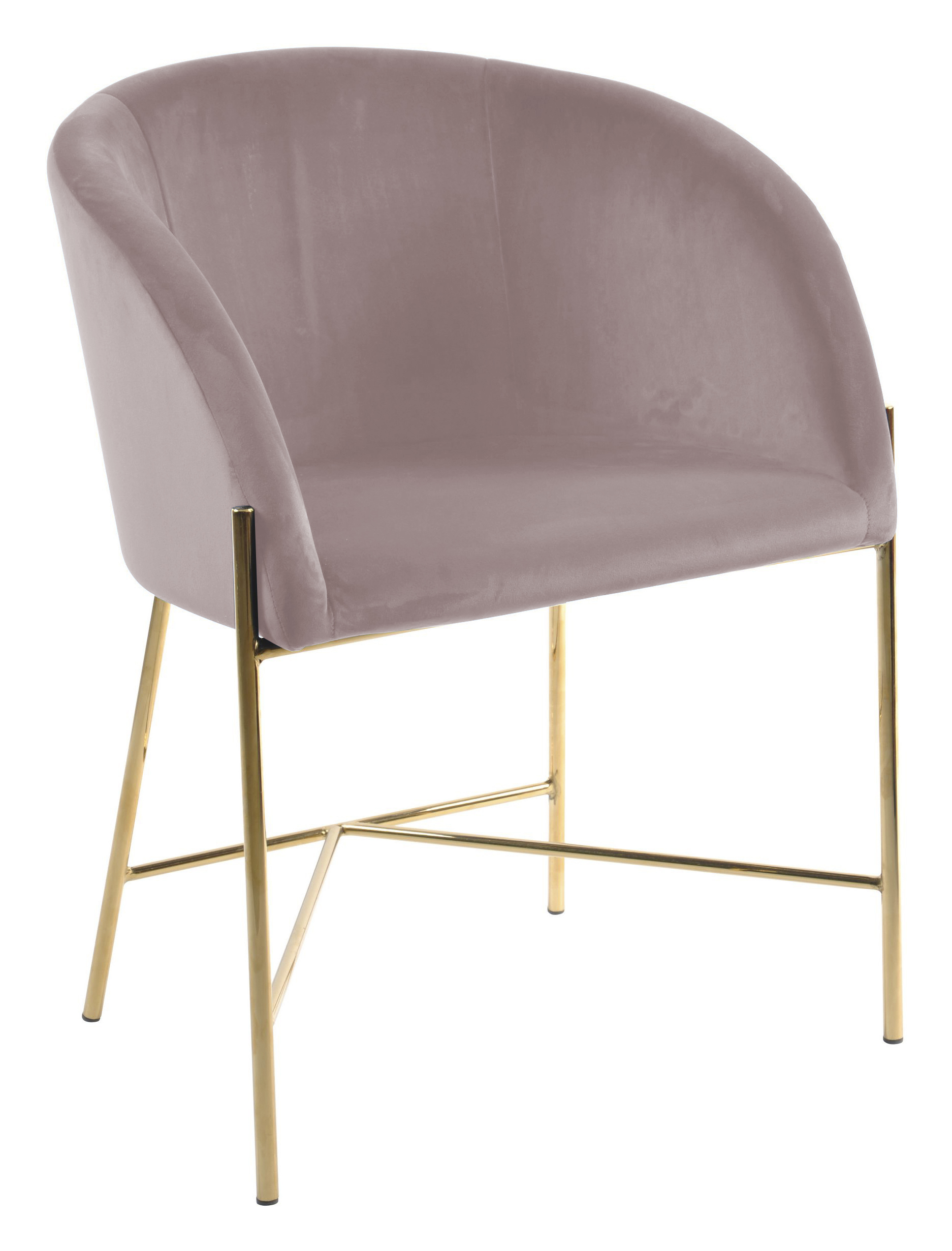 Interstil Eetkamerstoel 'Nelson Gold' Velvet, kleur Dusty Rose