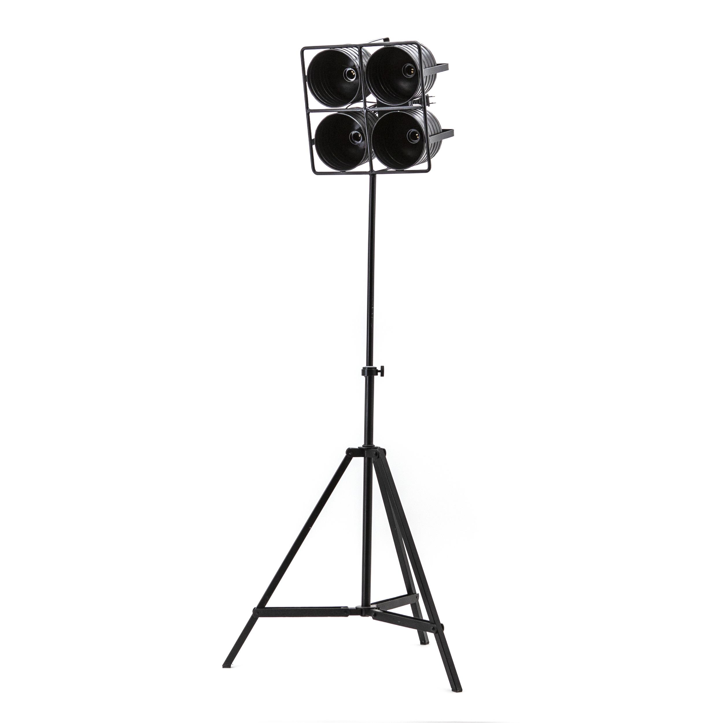 By-Boo Vloerlamp 'Minack' 4-lamps, kleur zwart