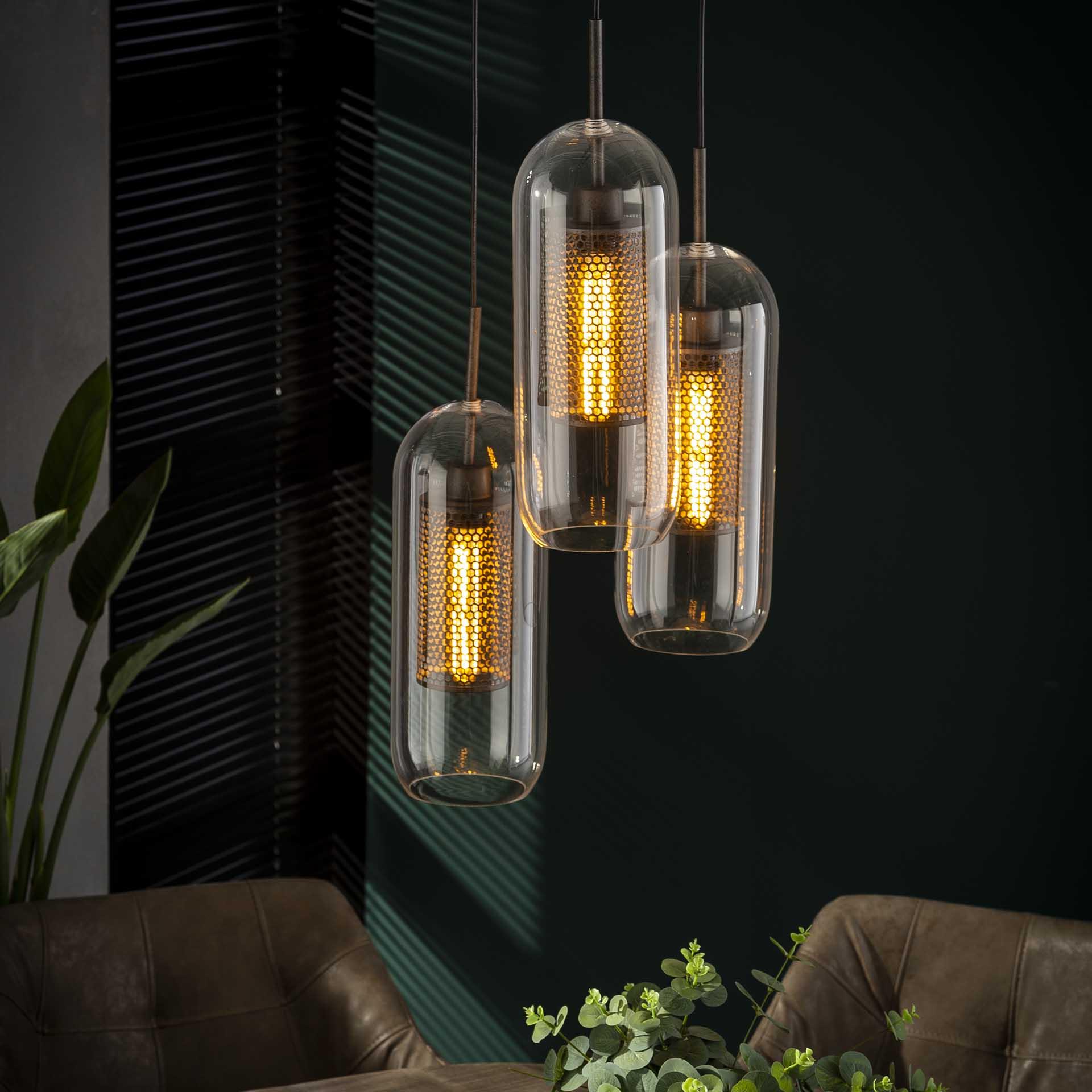 Glazen Hanglamp 'Ossie' 3-lamps korting