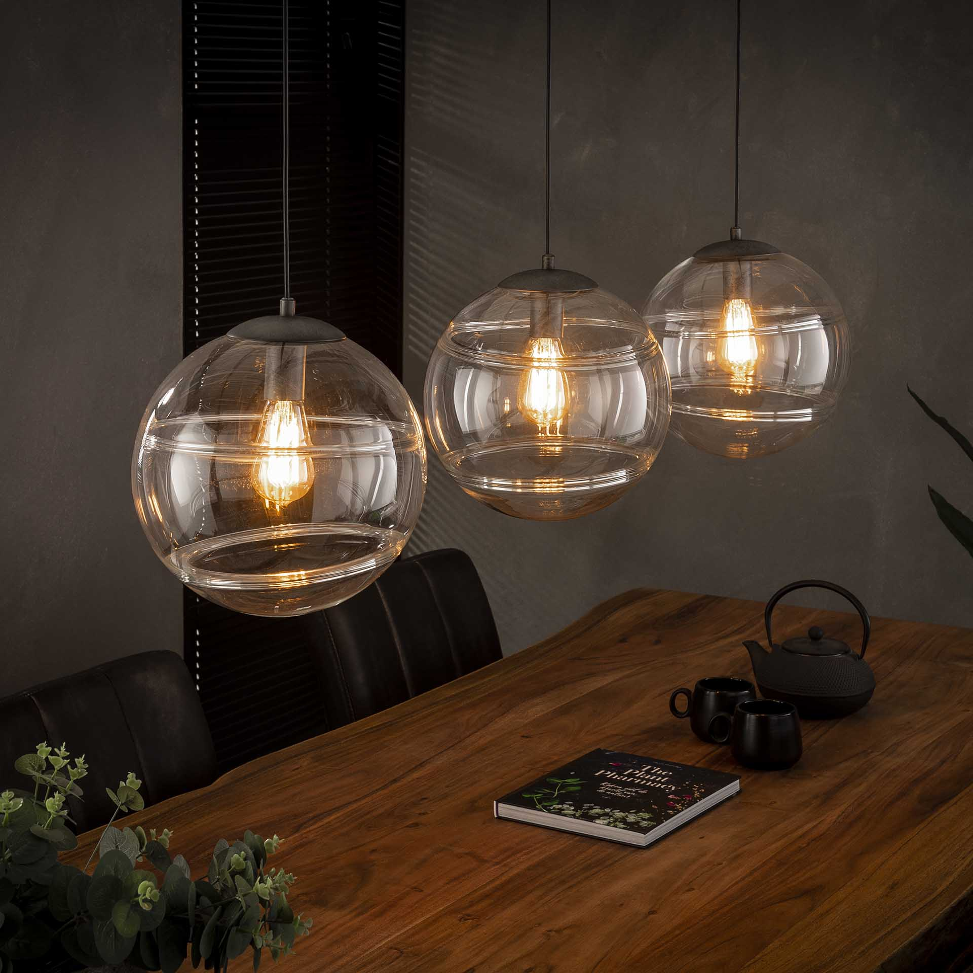 Glazen Hanglamp 'Delroy' 3-lamps korting