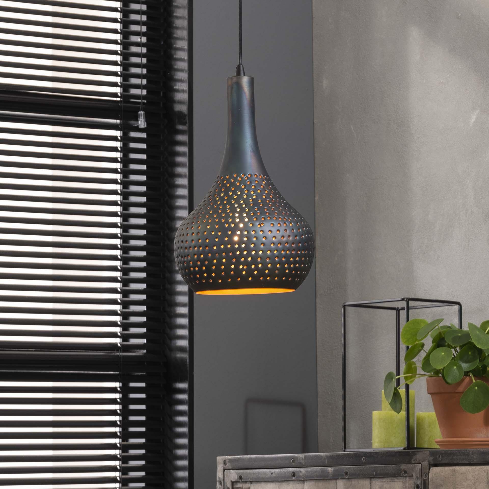 Hanglamp 'Judd' 1-lamps, 25cm kleur Zwart / bruin korting