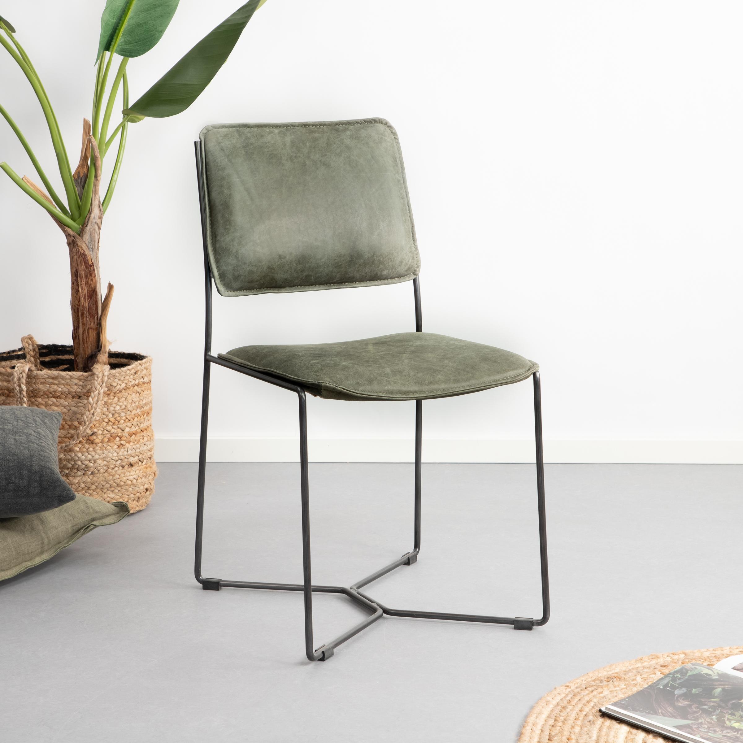 Uw partner in meubels: Eetkamerstoel 'Mees' vintage leder, kleur groen Zitmeubelen | Eetkamerstoelen