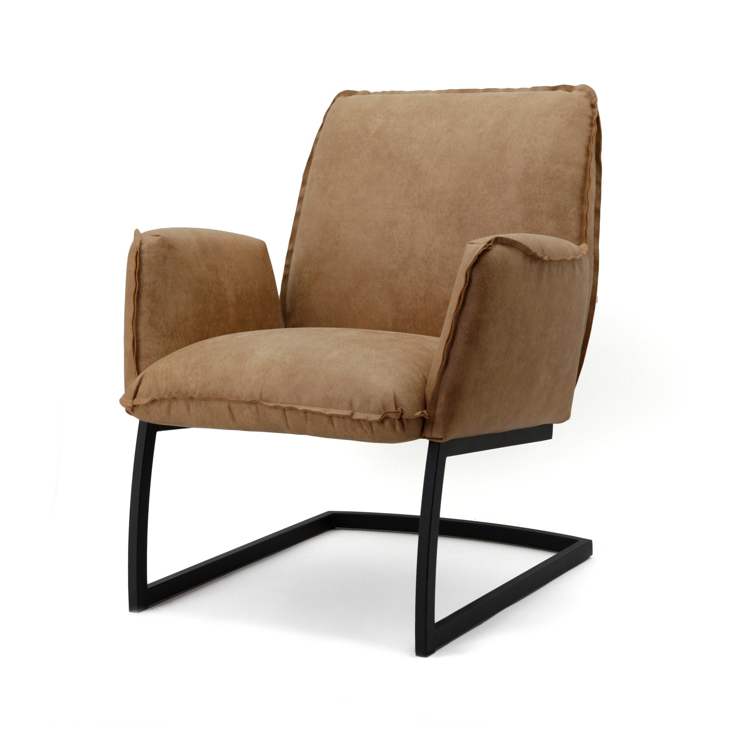 Uw partner in meubels: Fauteuil 'Nelson' Eco leder met metaal, kleur cognac Zitmeubelen | Fauteuils