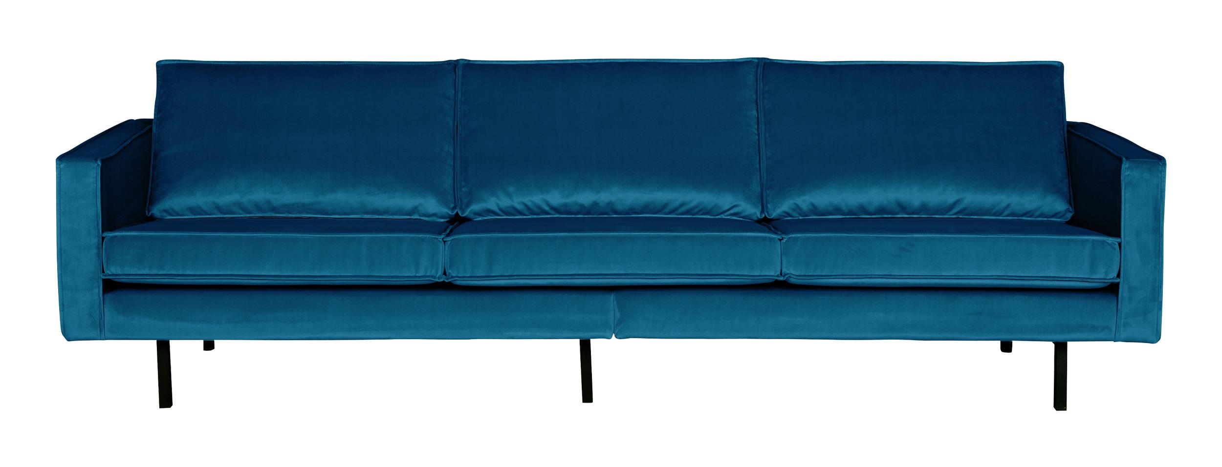 BePureHome Bank 3-zits 'Rodeo' Velvet, kleur Blauw