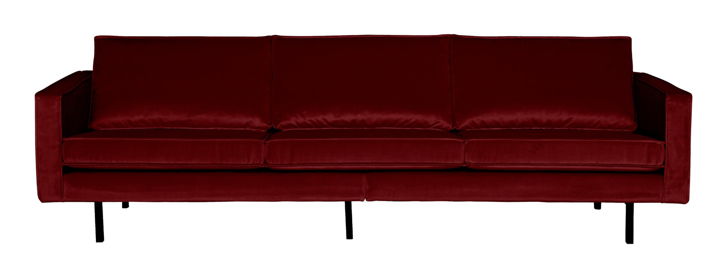 BePureHome Bank 3-zits 'Rodeo' Velvet, kleur Rood