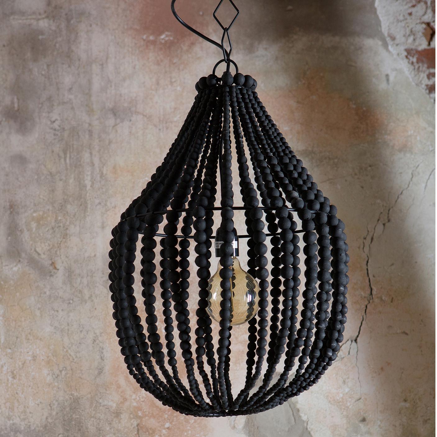BePureHome Kroonluchter 'Funale' met houten kralen, kleur Naturel Verlichting | Hanglampen kopen