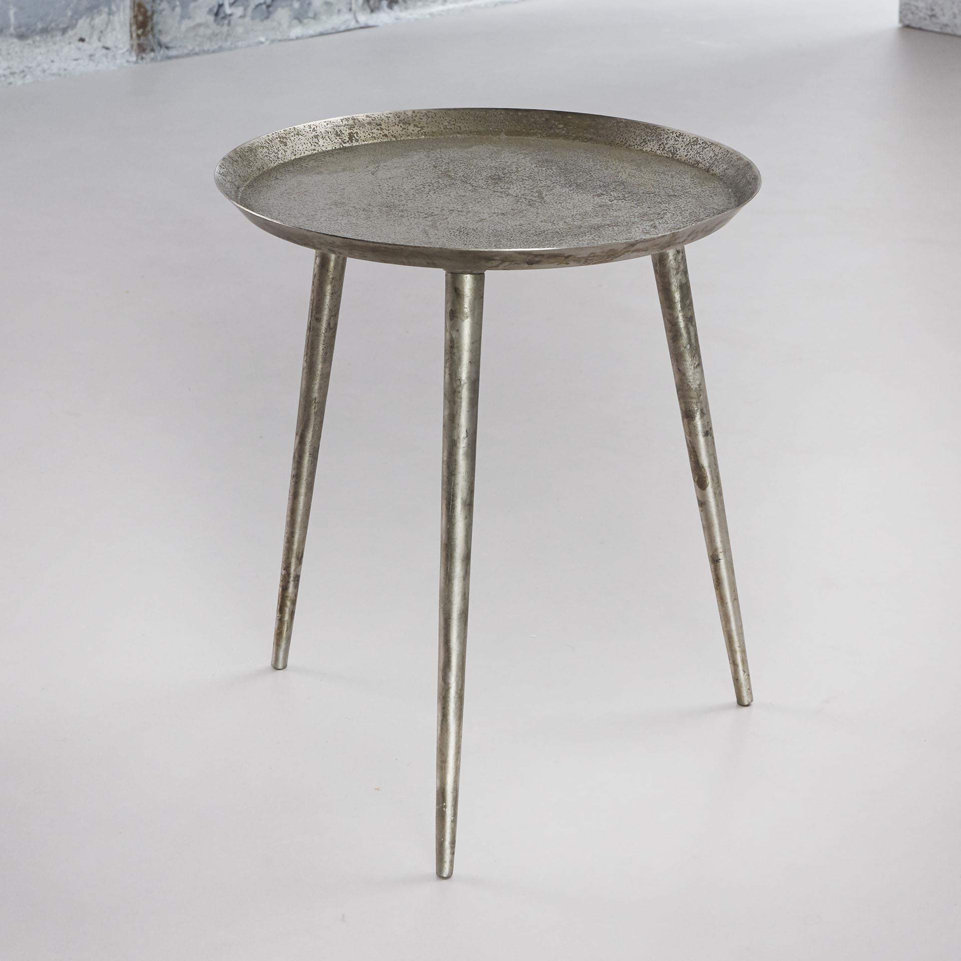 Bijzettafel 'Rachel' 40cm, kleur antiek zilver