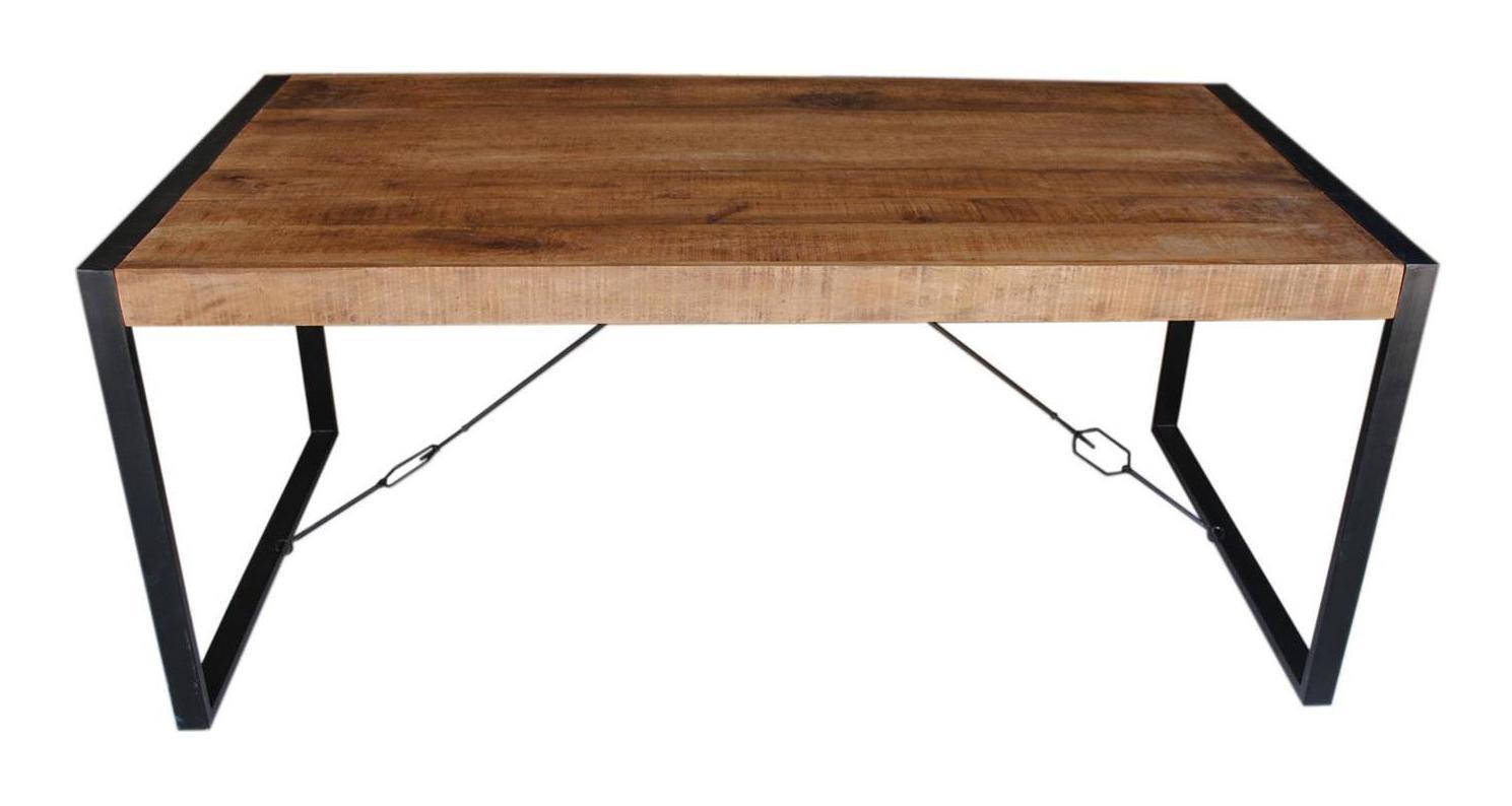 LivingFurn Industriële Eettafel 'Strong' Mango-hout, 160 x 90
