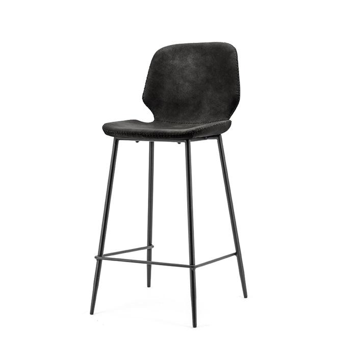 By-Boo Barstoel 'Seashell', kleur Zwart (zithoogte 65cm)