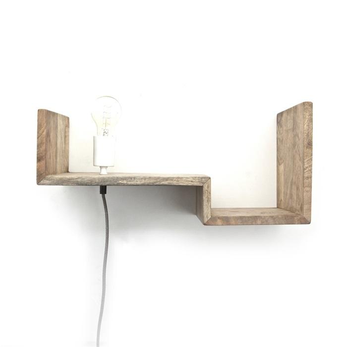 By-Boo Wandlamp / wandplank 'Top Shelf' 50cm, kleur naturel