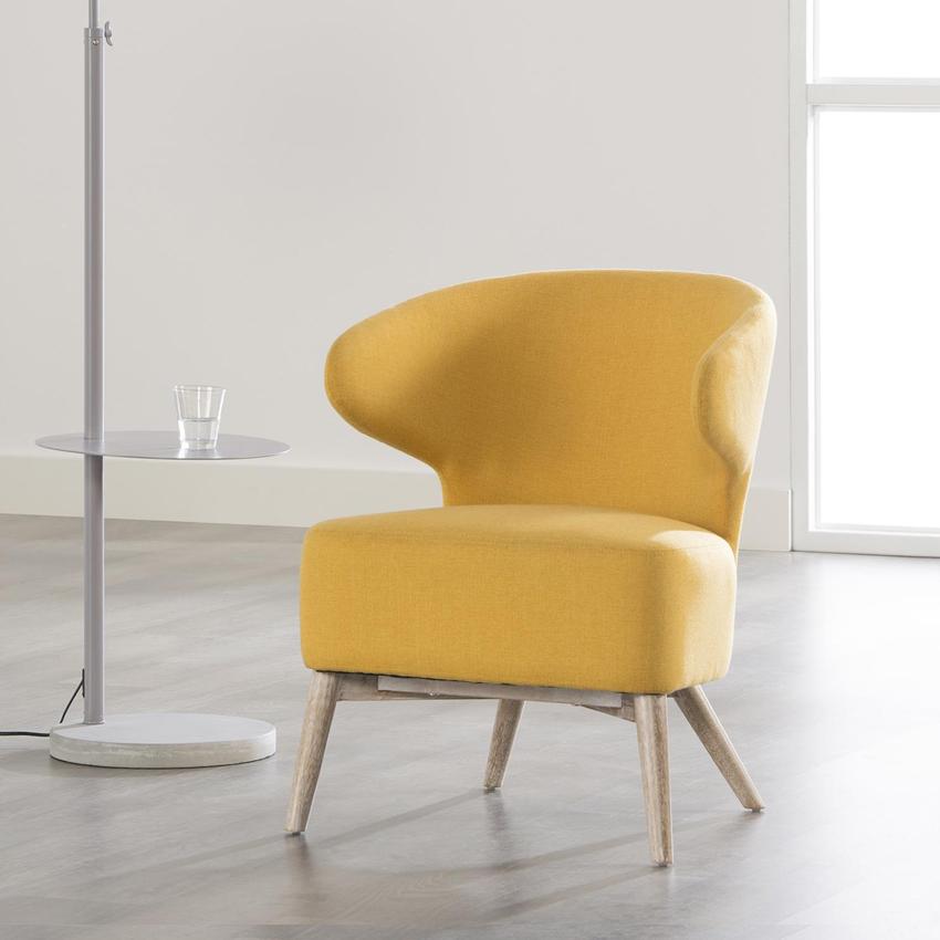 Fauteuil 'Lieselotte', kleur geel