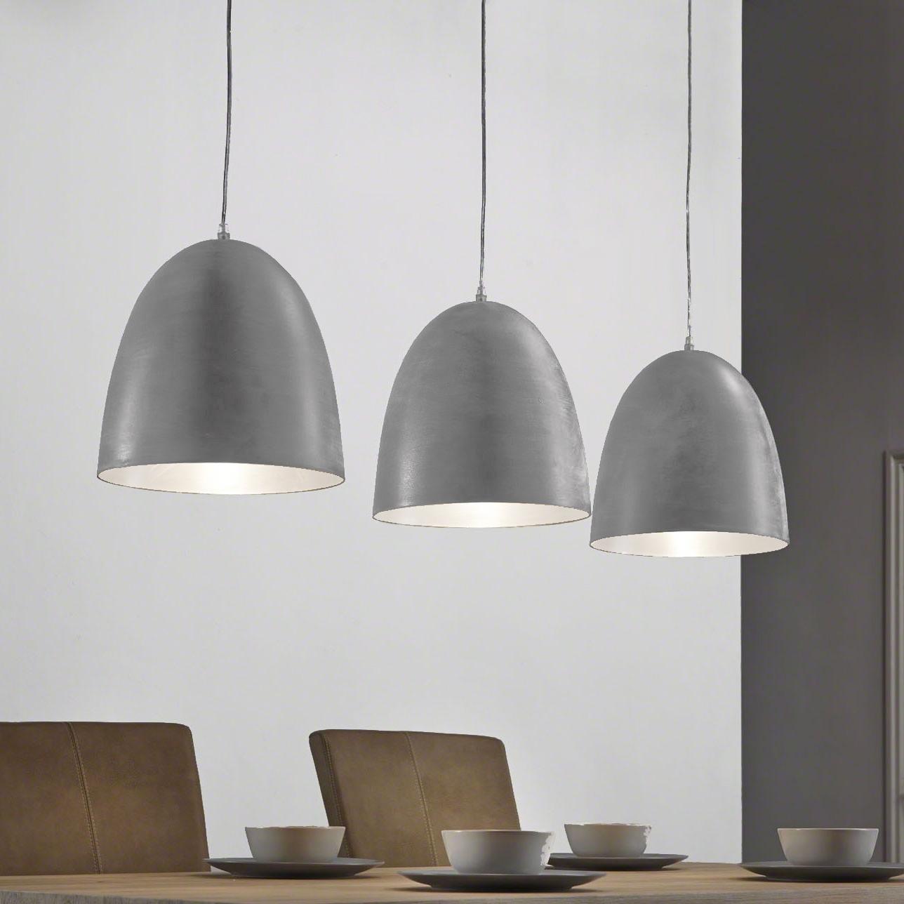 Industriële Hanglamp 'Florence', 3-lamps, kleur grijs