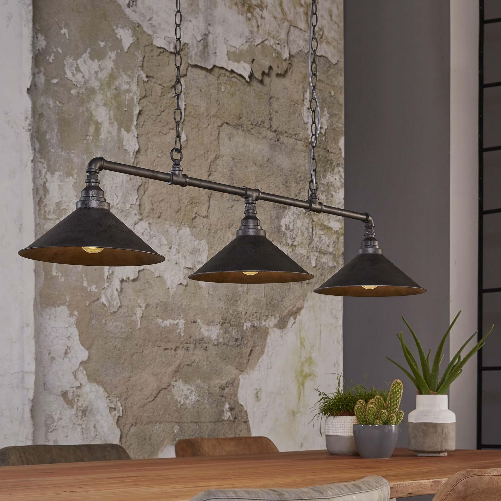 Industriële Hanglamp 'Rod' met 3 kappen van Ø30 cm