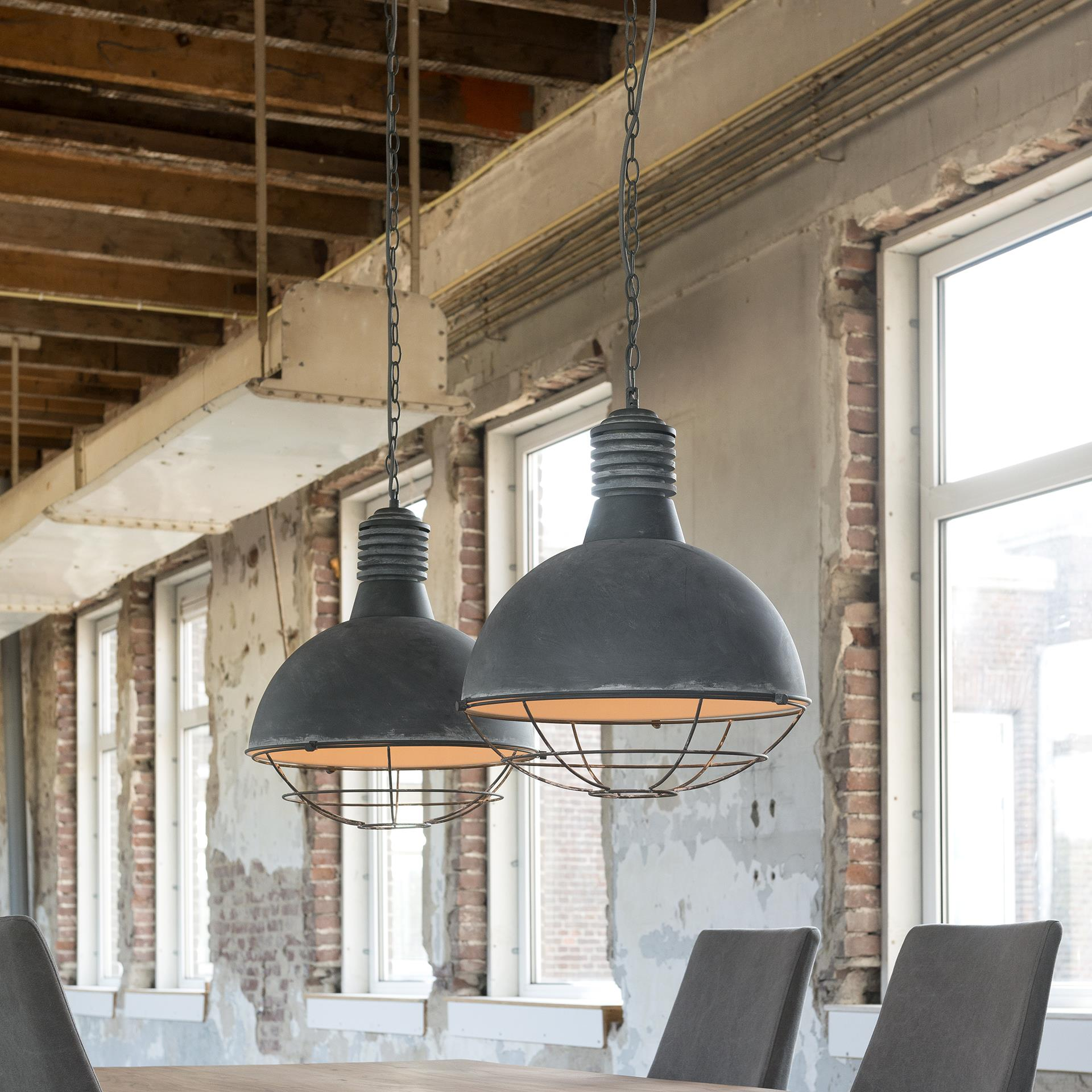 Industriële Hanglamp 'Trevon' met dubbele kap in betonlook, 41cm korting