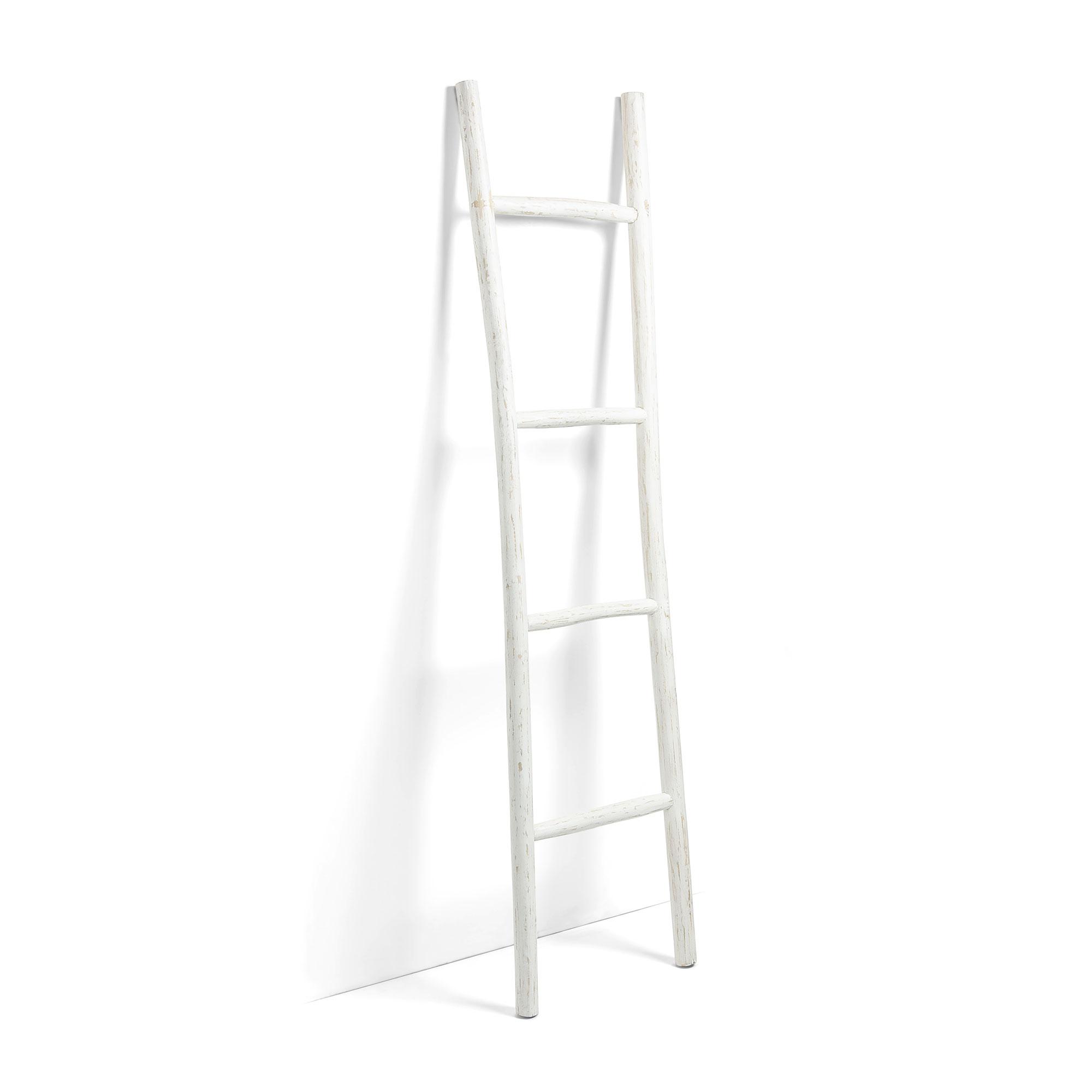 Kave Home Decoratie ladder 'Marge' Teak 190cm, kleur Wit
