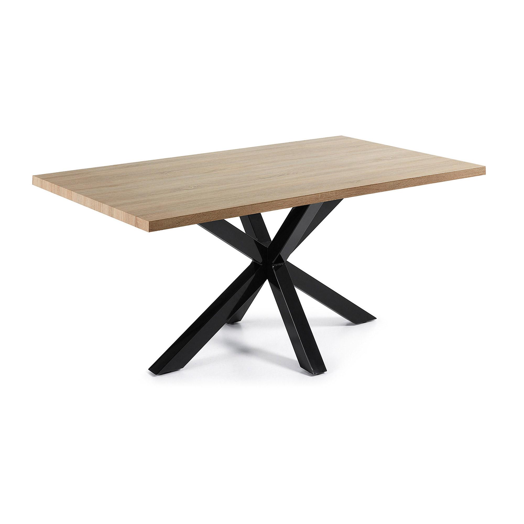 Kave Home Eettafel 'Argo' zwart / hout, 160 x 90cm