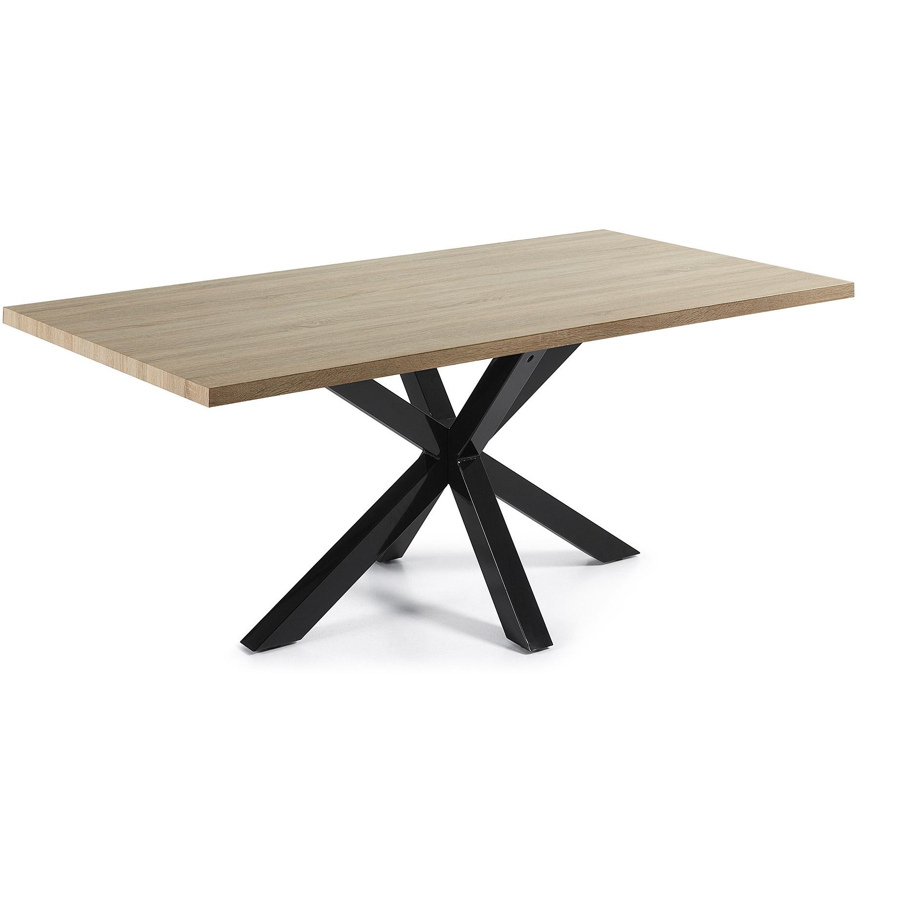 Kave Home Eettafel 'Argo' zwart / hout, 200 x 100cm