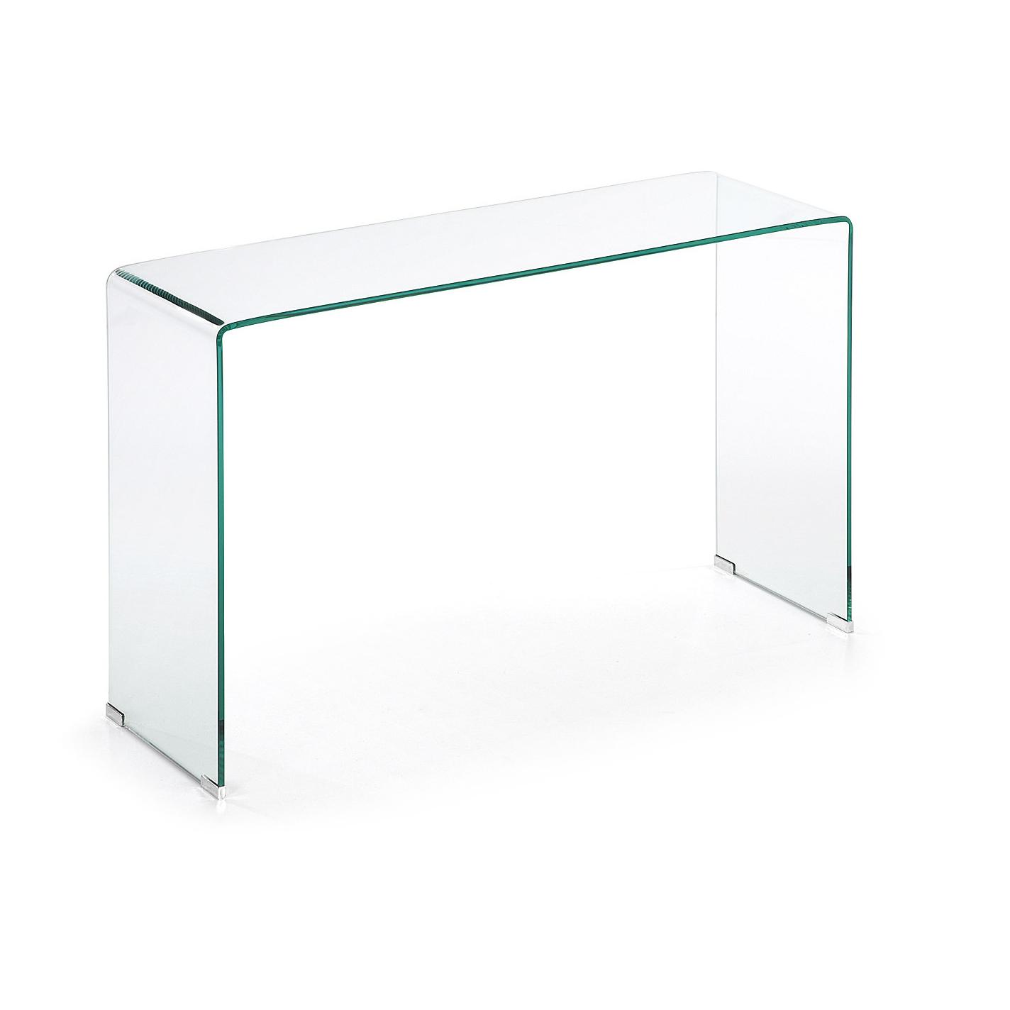 Sidetable Glas Metaal.Kave Home Glazen Sidetable Burano 125 X 40 Cm