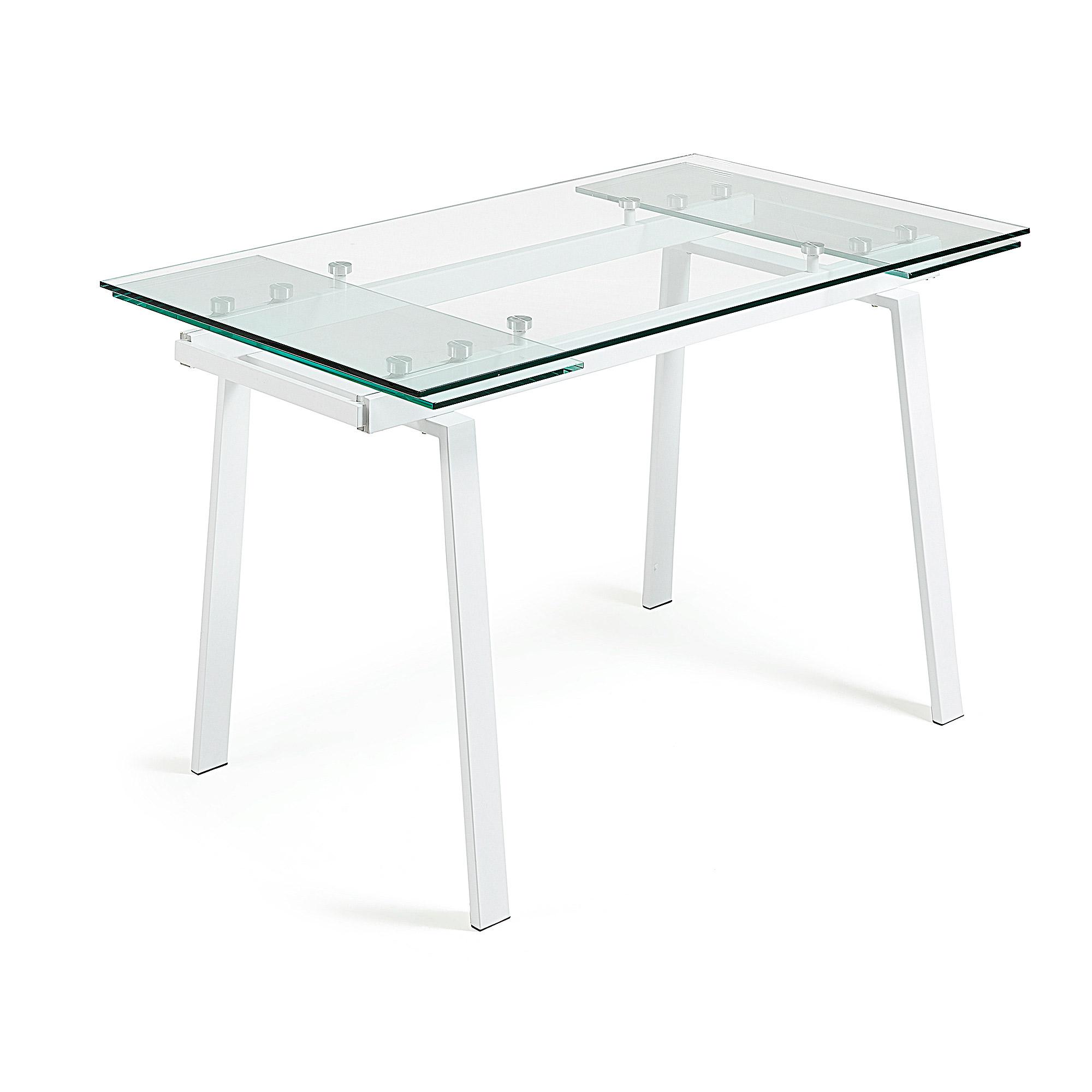 Glazen Tafel Uitschuifbaar.Kave Home Glazen Uitschuifbare Eettafel Punch 140 200 X 80cm