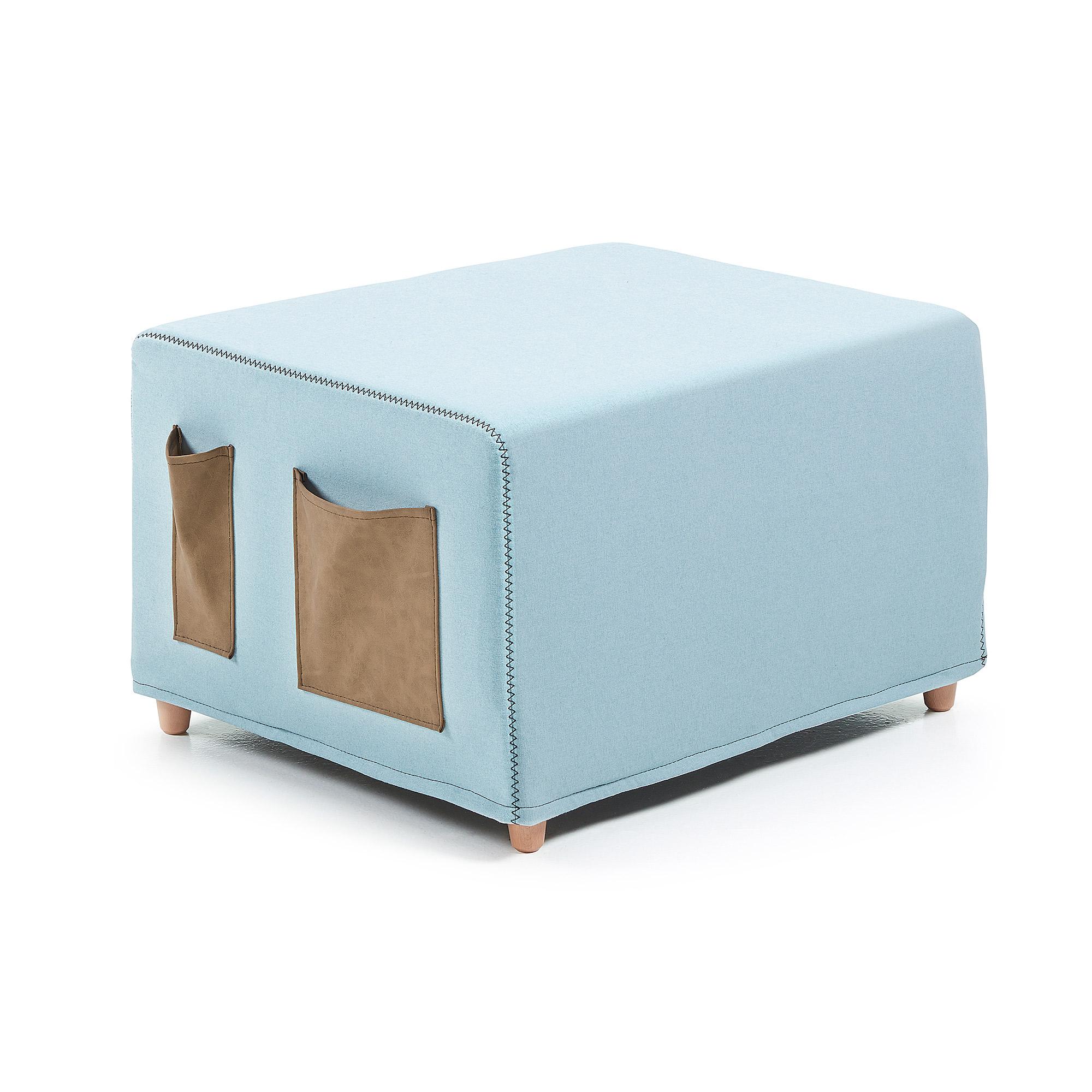 Kave Home poef/vouwbed 'Kos', kleur lichtblauw