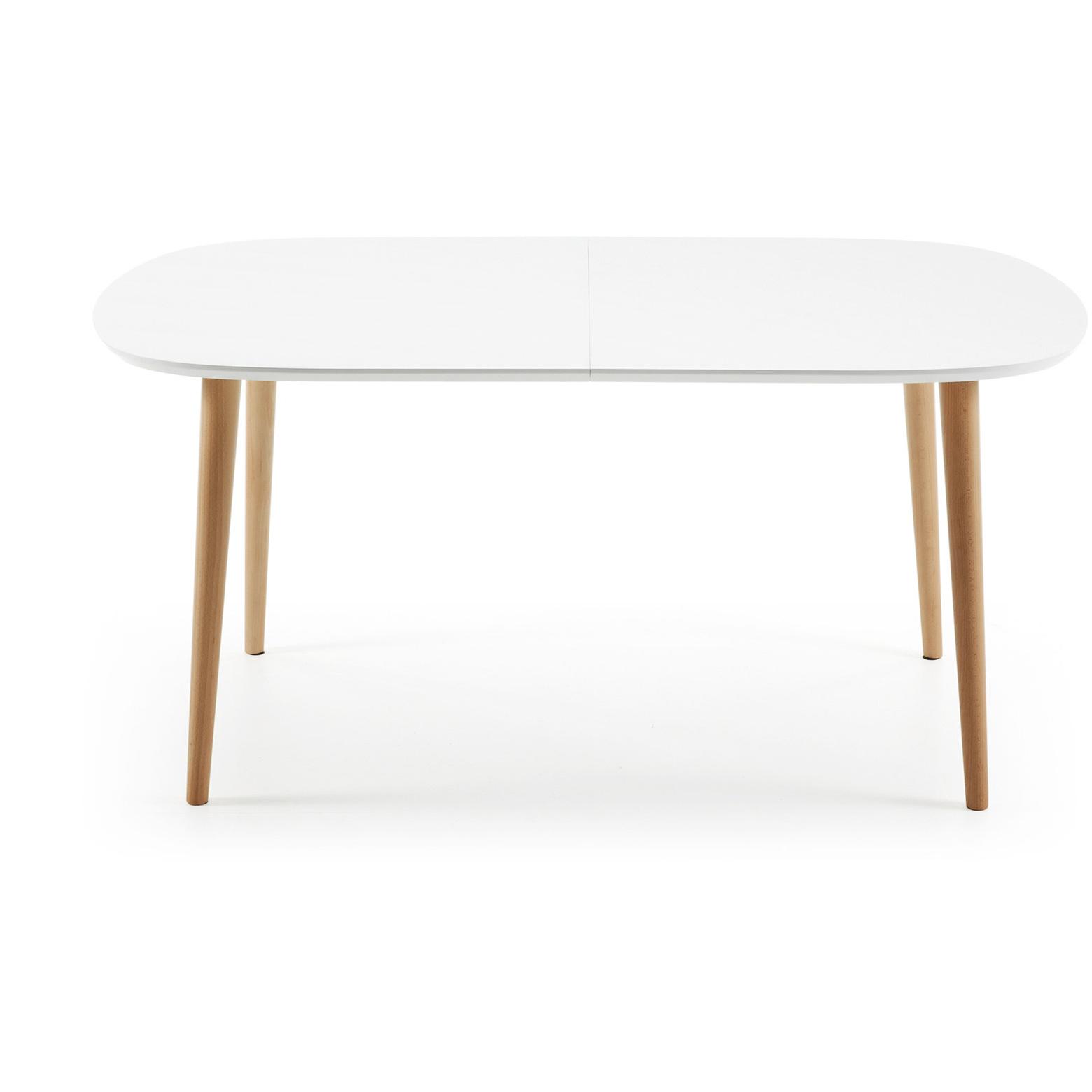 Ovalen Witte Eettafel.Kave Home Uitschuifbare Eettafel Oqui Ovaal 160 260