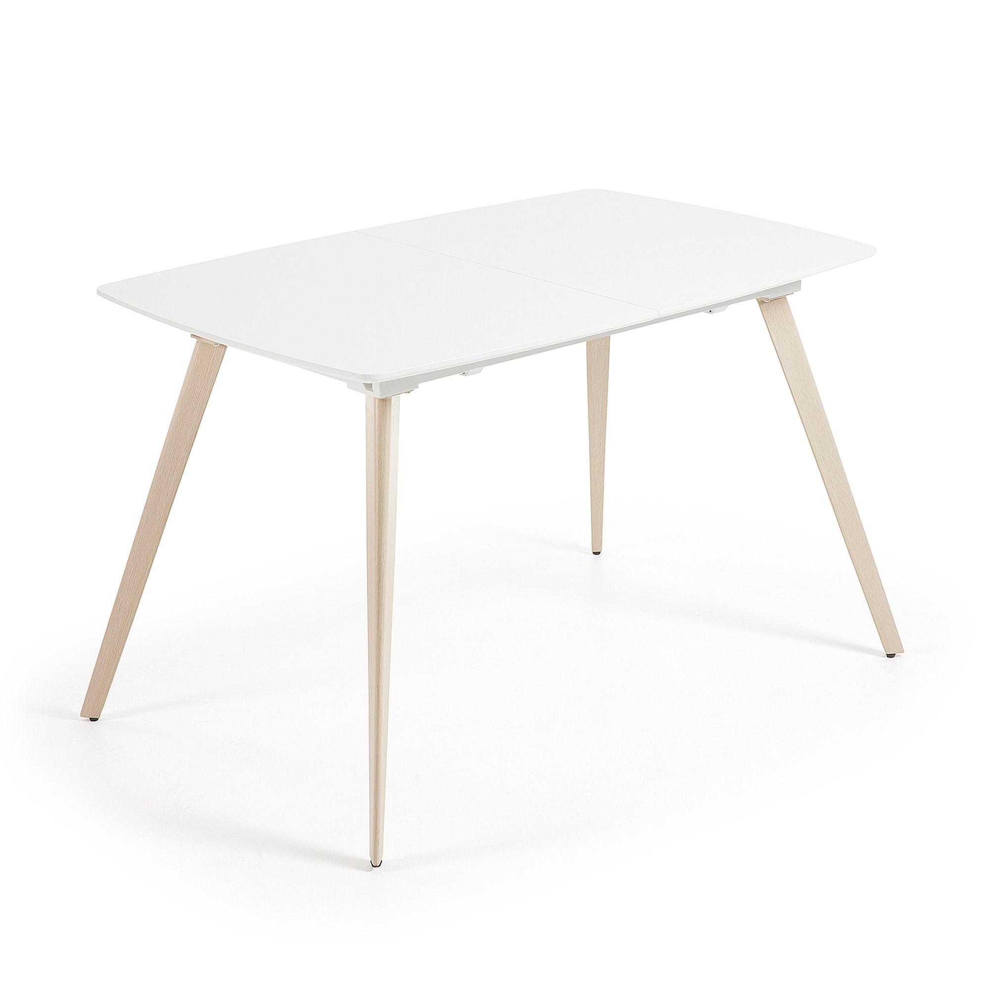 Eettafel Hoogglans Wit 120.Kave Home Uitschuifbare Eettafel Smash 120 160cm