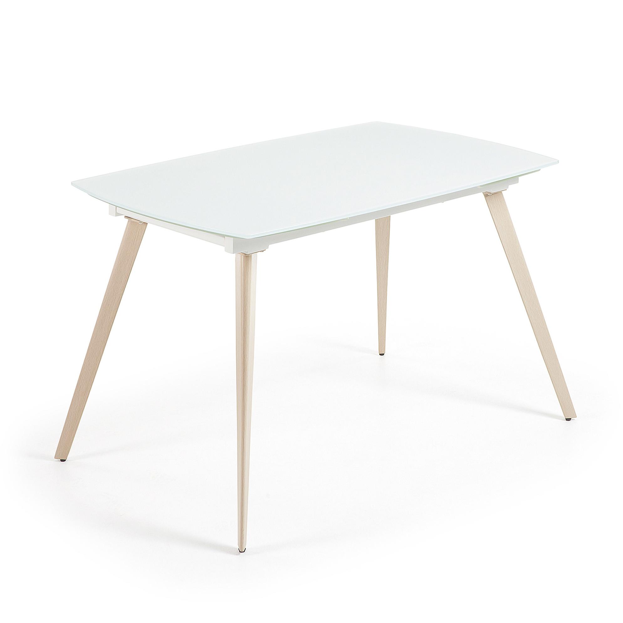 Kave Home Uitschuifbare Eettafel 'Smoth' 140 - 210cm, kleur wit