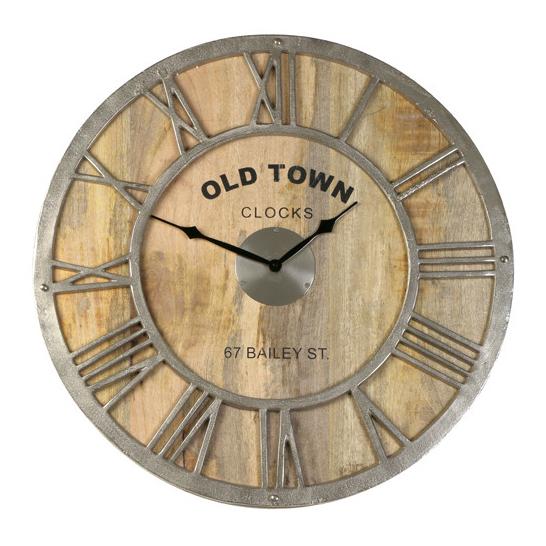 Light & Living Klok 'Old Town Baily' Ø61 cm, hout ruw nikkel