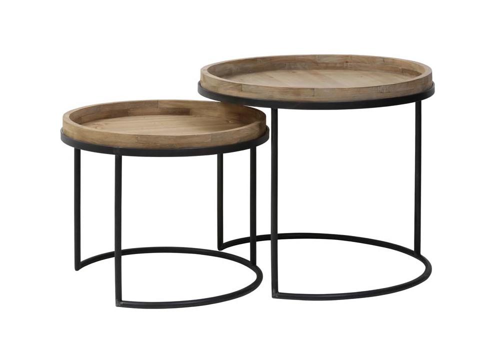 Light & Living Bijzettafel 'Copan' Set van 2 stuks, zwart+hout Tafels | Bijzettafels kopen