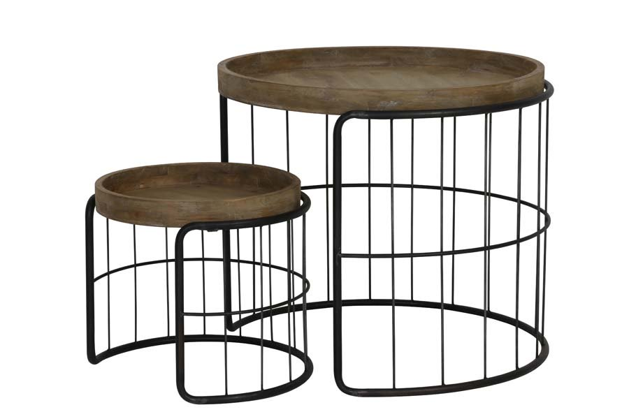 Light & Living Bijzettafel 'Yorito' Set van 2 stuks, metaal zwart+hout Tafels | Bijzettafels kopen