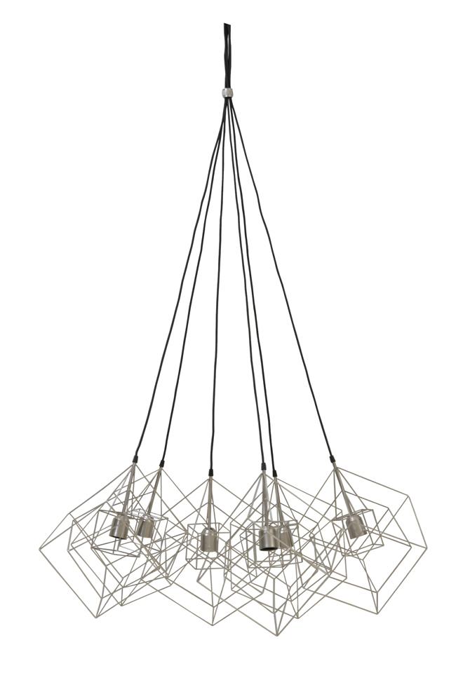 Light & Living Hanglamp 'Kubinka' 6-Lamps, zilver grijs korting