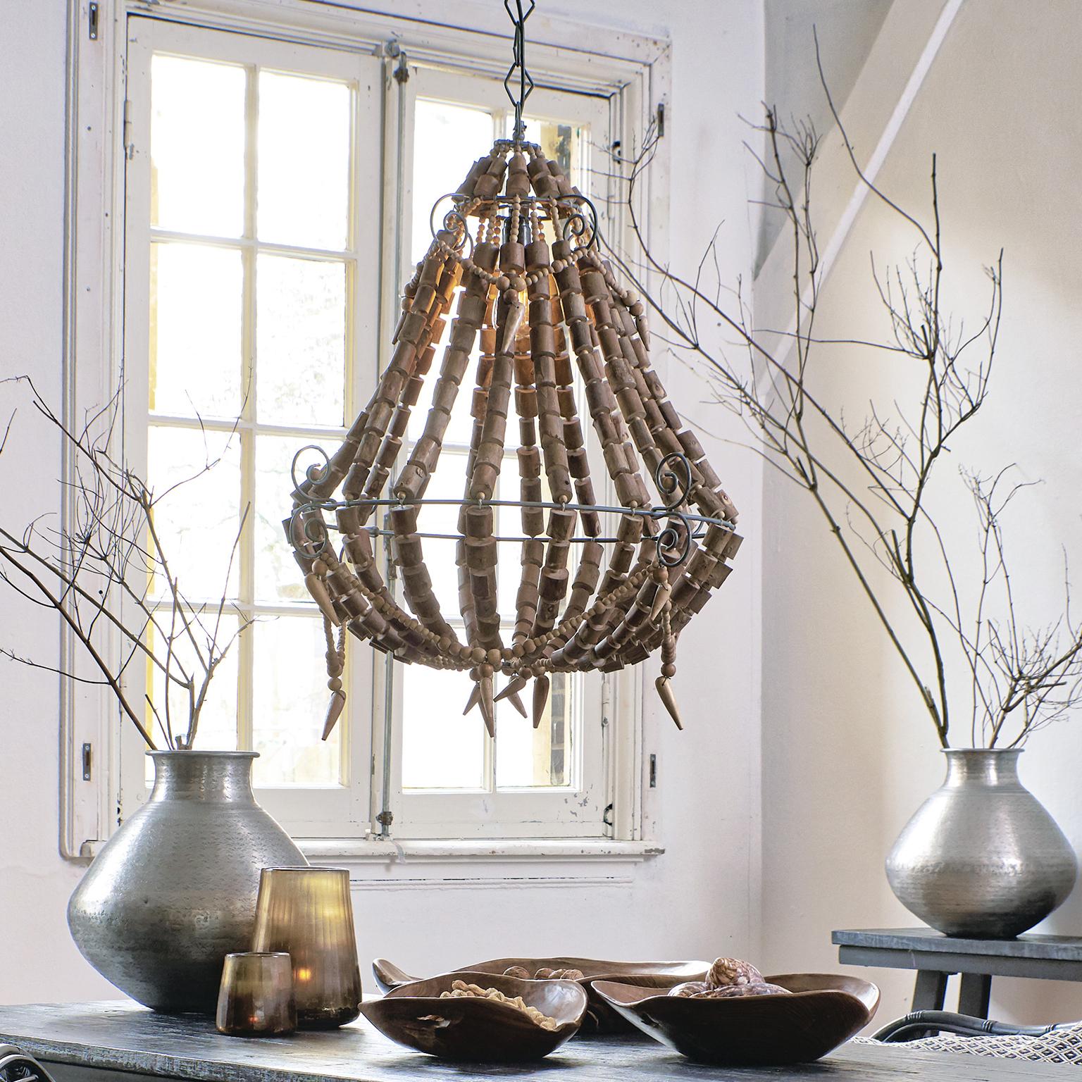 Light & Living Hanglamp 'Lola' kralen, hout naturel Verlichting | Hanglampen kopen