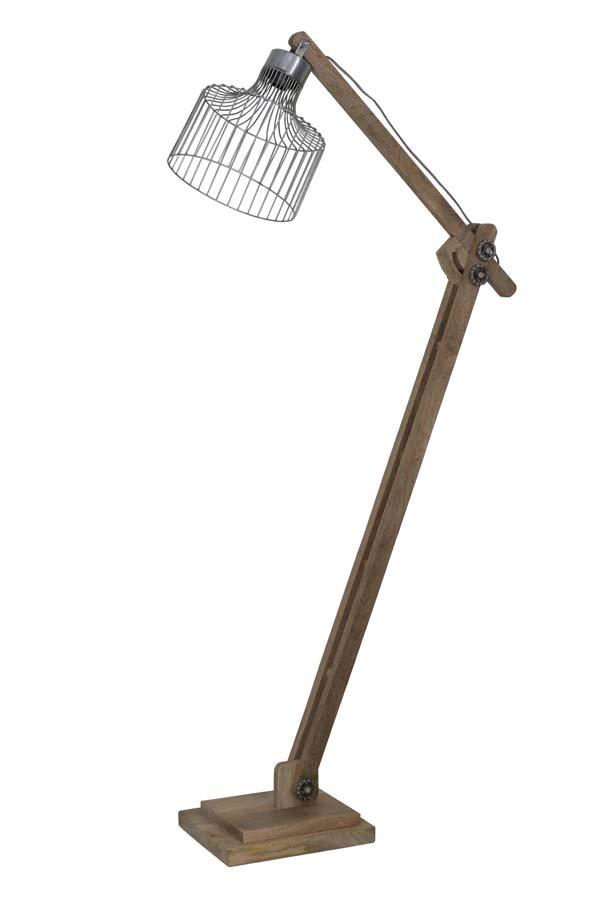 Light & Living Vloerlamp 'Ebke', hout naturel+zink