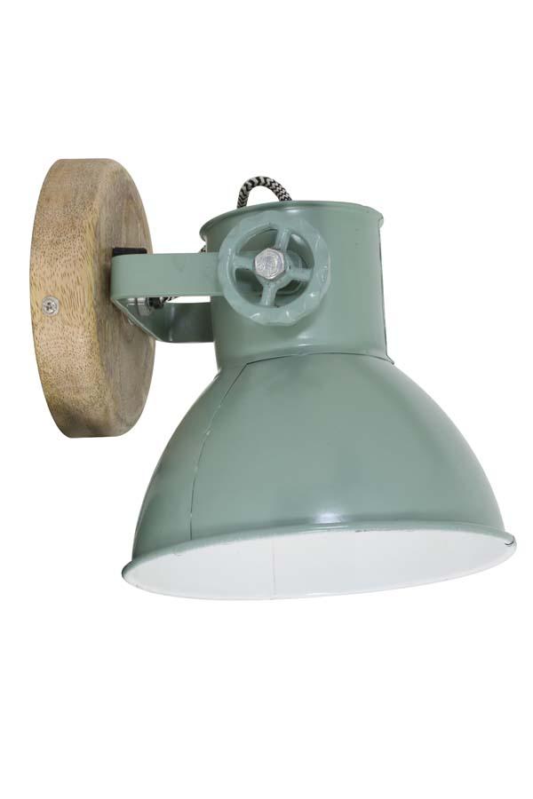 Light & Living Wandlamp 'Elay', hout naturel+industrieel groen