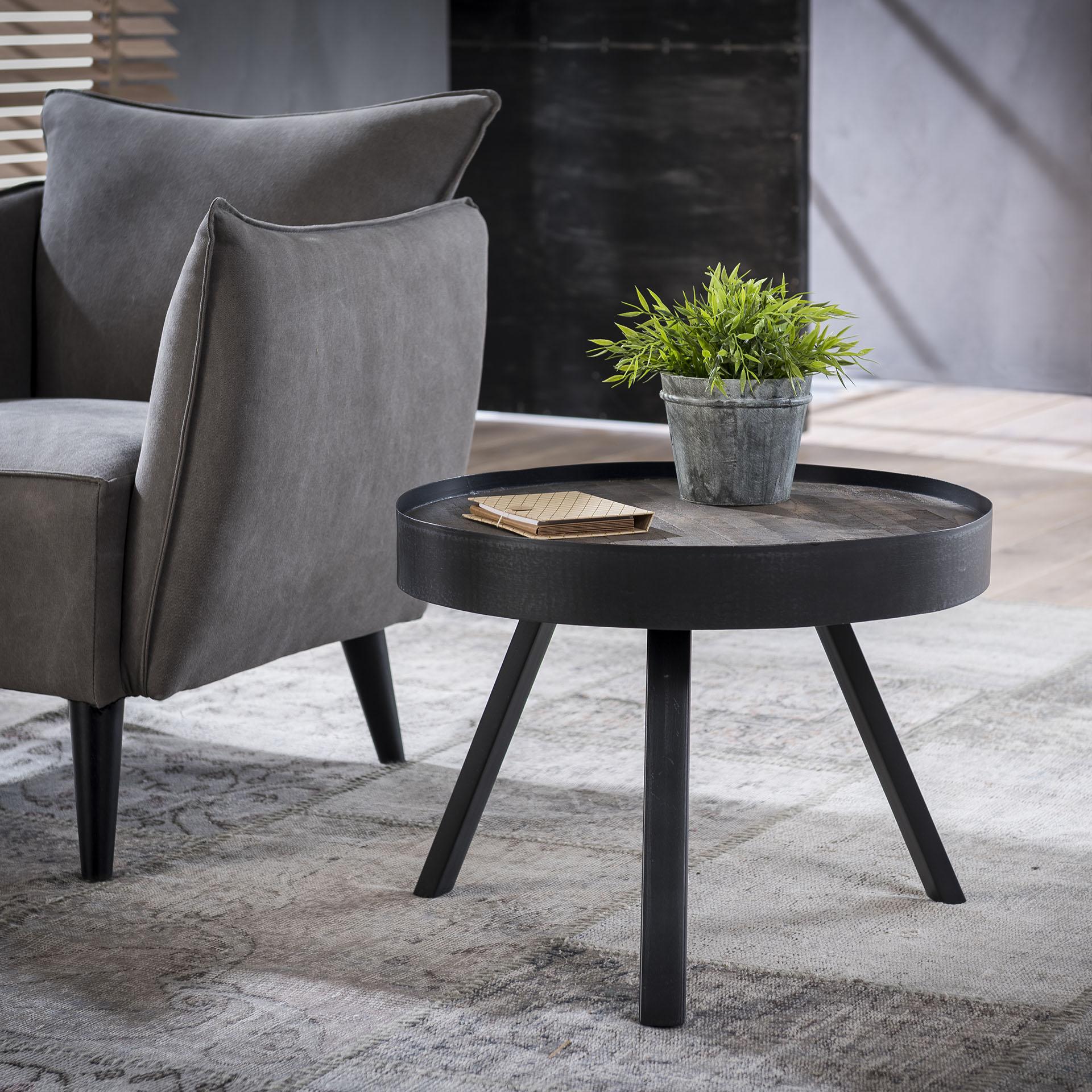 Root Catalog LifestyleFurn Ronde salontafel 'Teca Grey' met metalen rand, 60cm