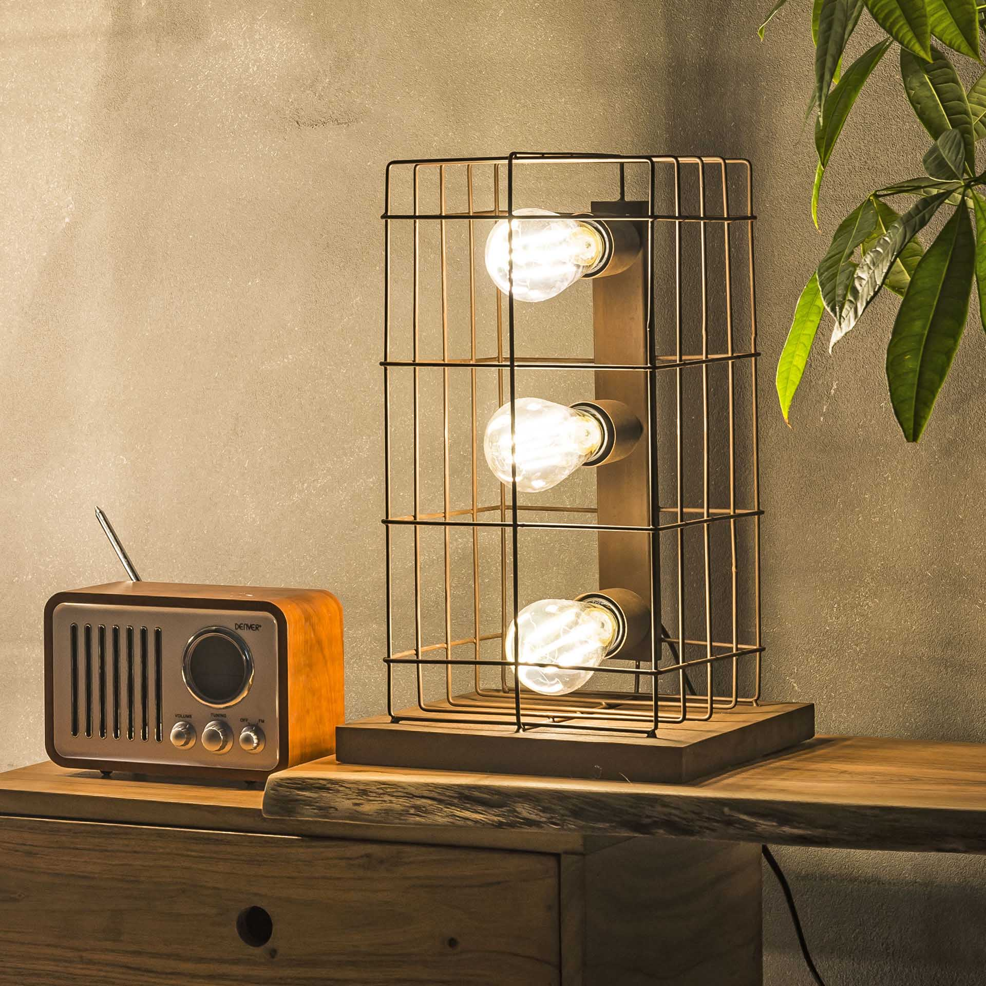 Tafellamp 'Ayhan' Kooi 3-lamps, roestbruin Verlichting | Tafellampen kopen