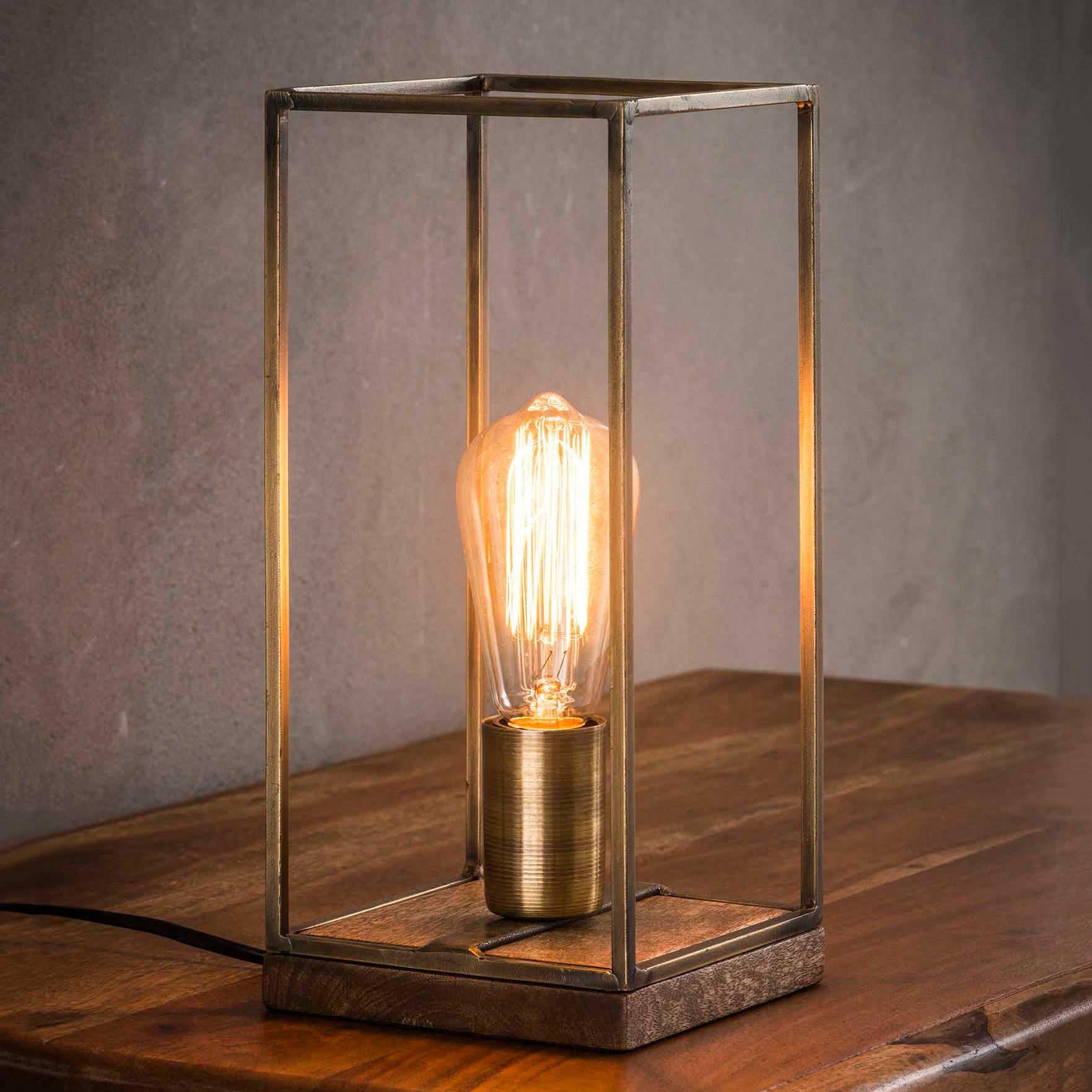 Tafellamp 'Jean-Louis' metaal met houten voet Verlichting