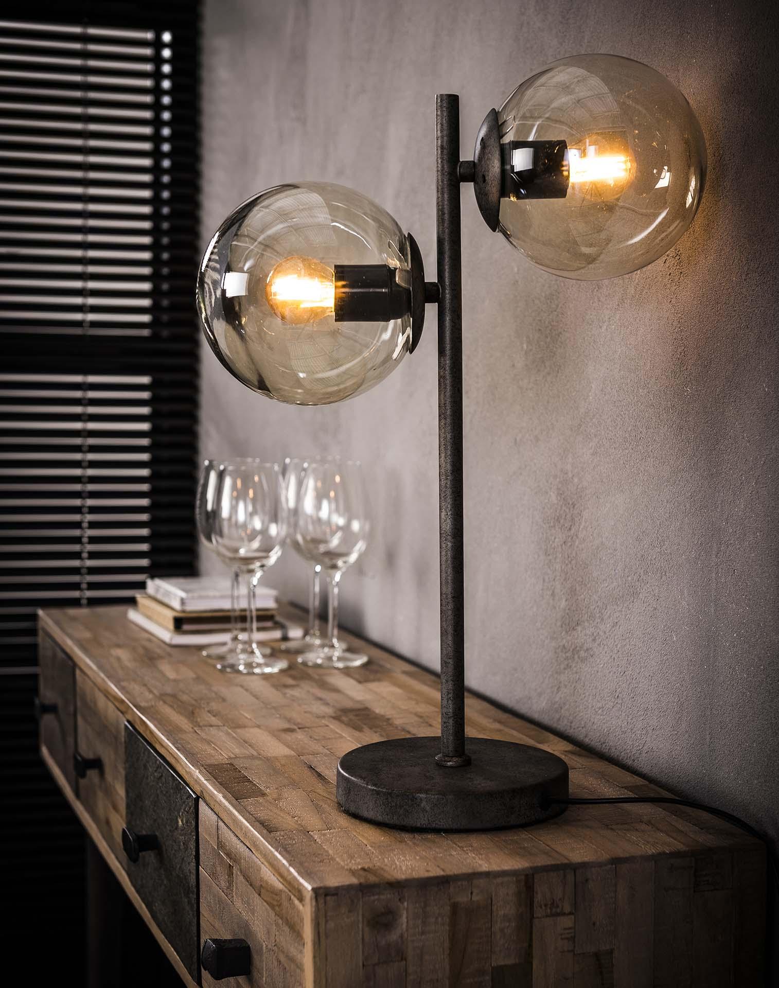 Tafellamp 'Kemal' 2-lamps met glazen bollen korting