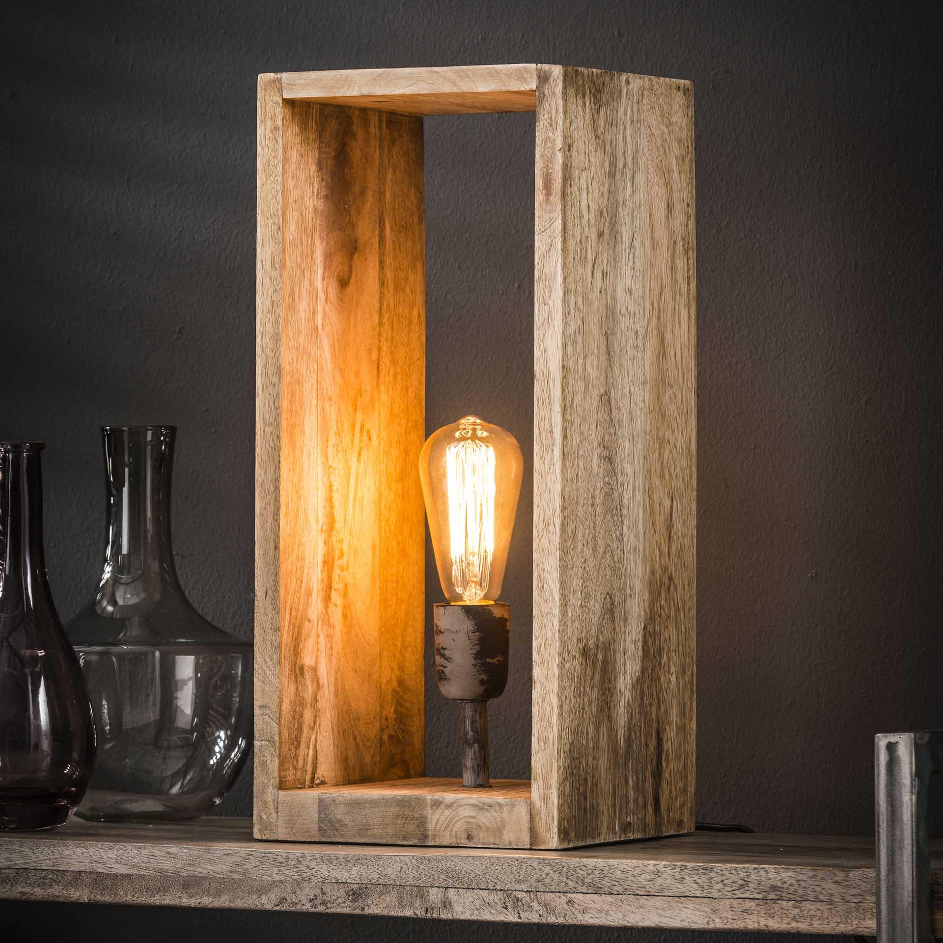 Tafellamp 'Nicole' mangohout Verlichting   Tafellampen kopen