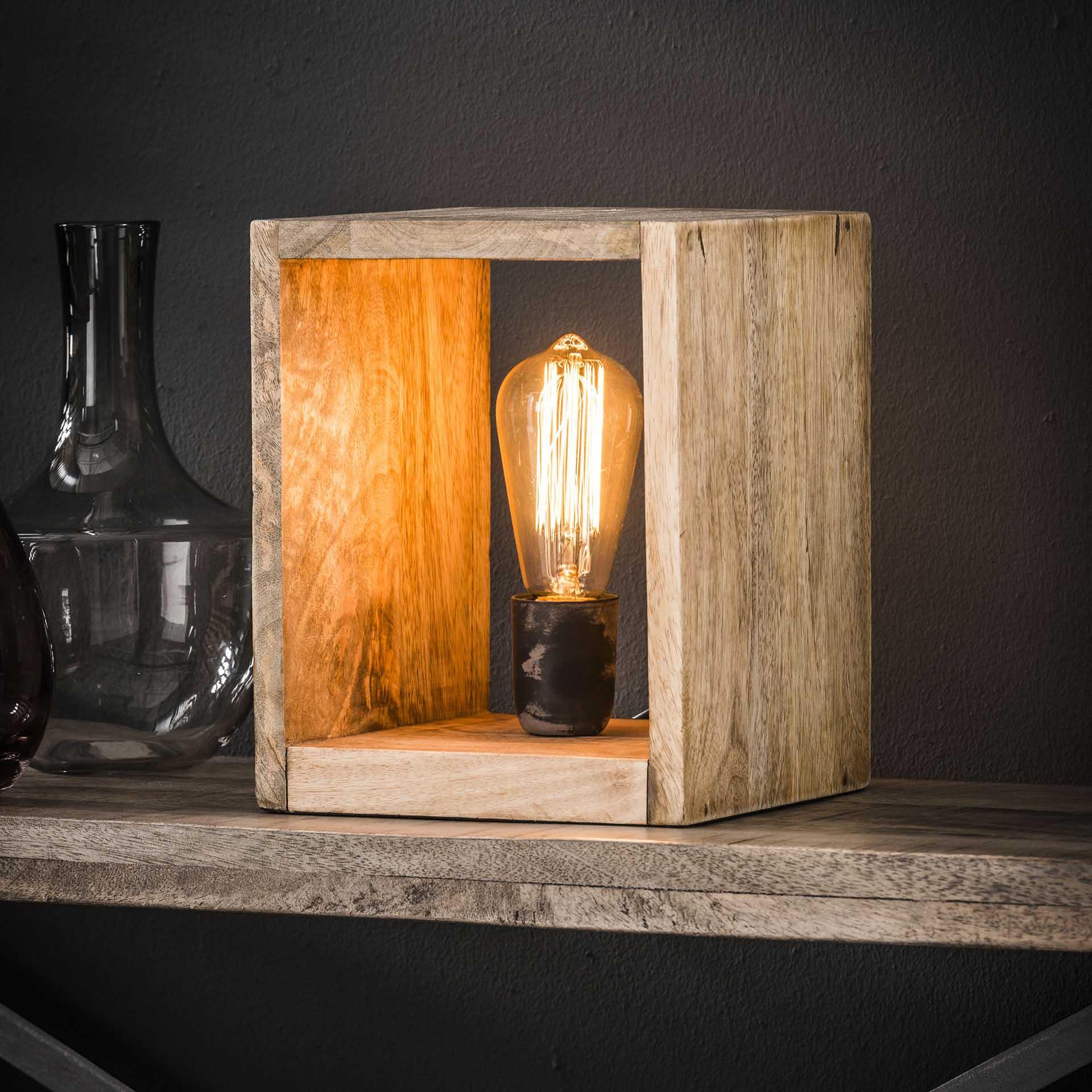 Tafellamp 'Nicole' vierkant mangohout Verlichting   Tafellampen kopen