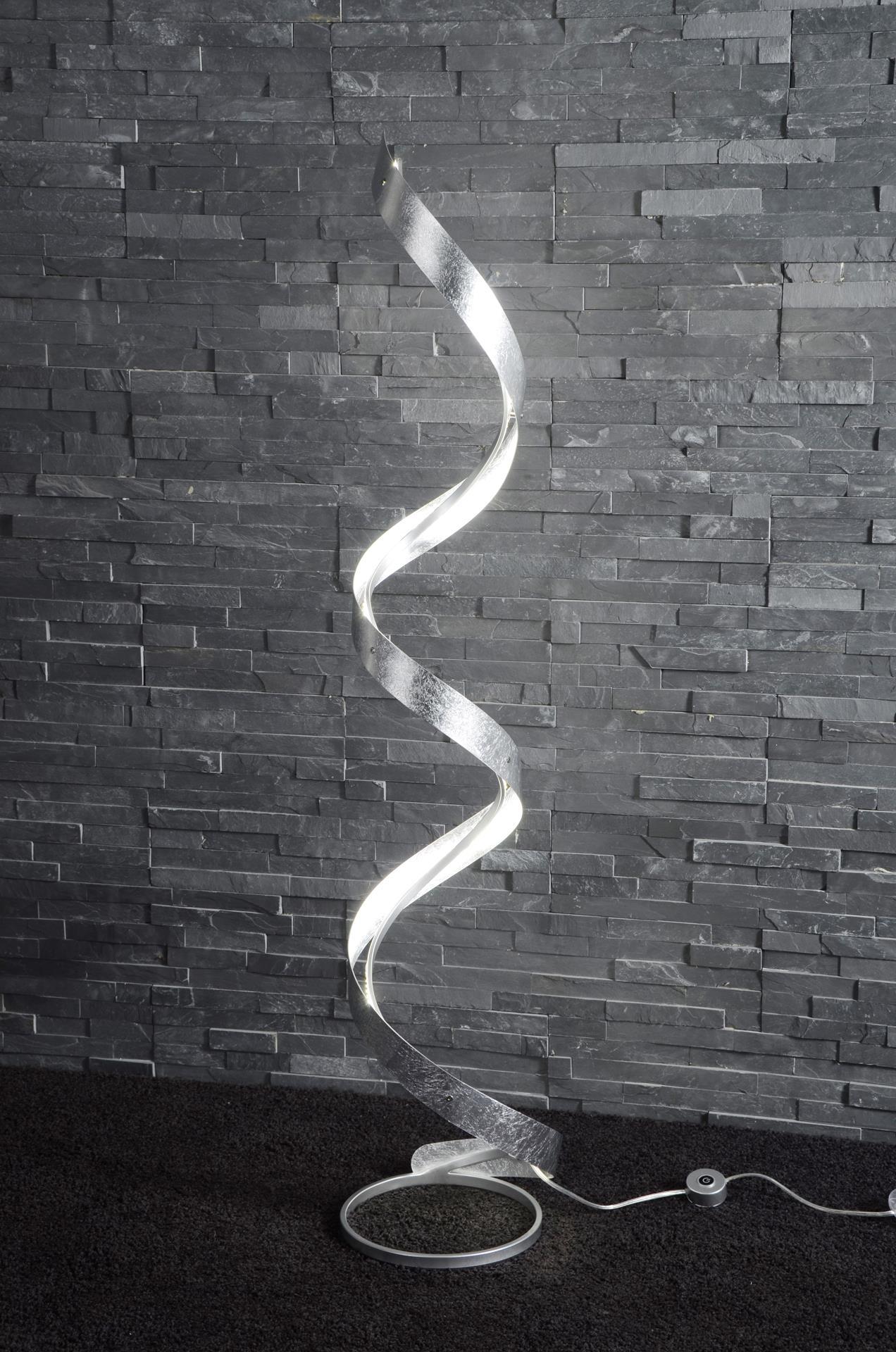 Vloerlamp 'Neil' zilver, LED met dimmer