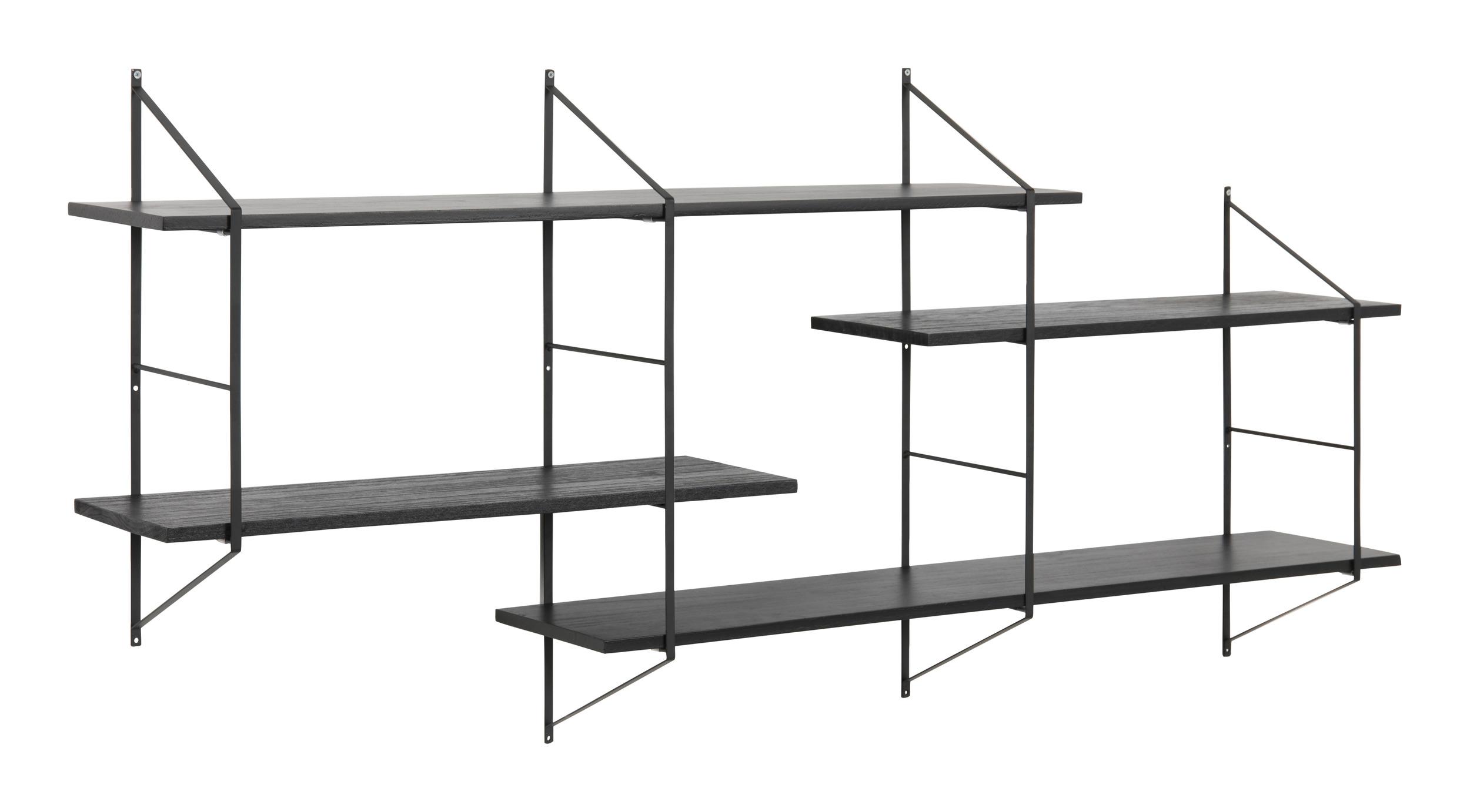 Wandrekje 'Mie' met 4 planken, kleur zwart Woonaccessoires | Wandplanken kopen