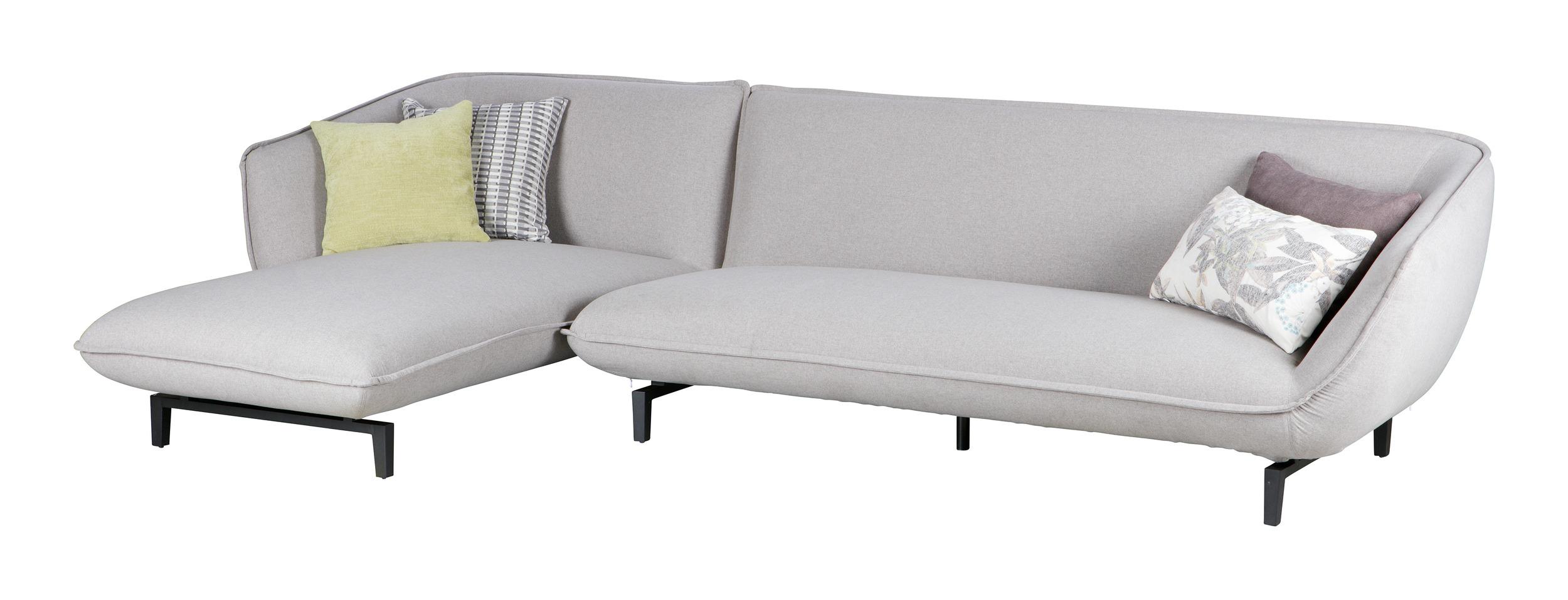 Woood 3-zitsbank 'Bow' met lounge links, kleur Lichtgrijs Zitmeubelen | Bankstellen kopen