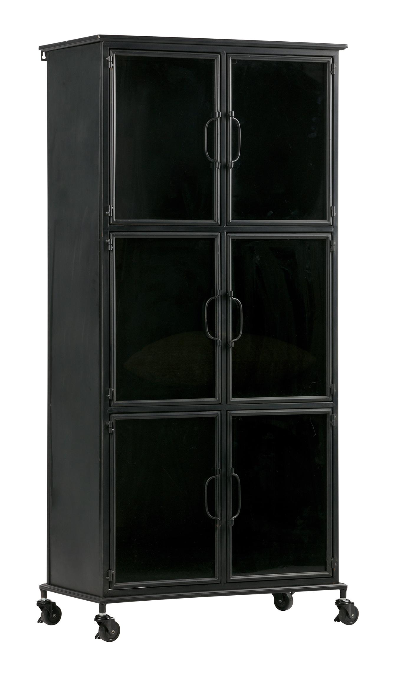 Woood Industriëel Vitrinekastje 'Jari' (hoogte 142cm), kleur Zwart