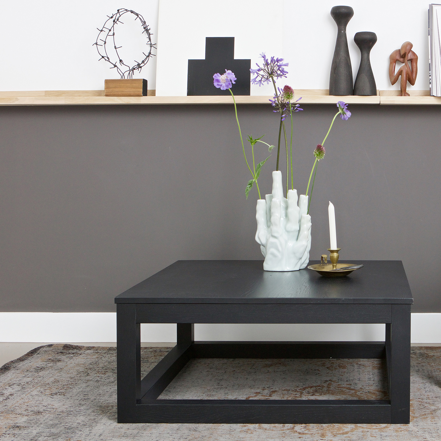 Woood Salontafel 'Wout' Eiken, 85 x 85cm, kleur zwart